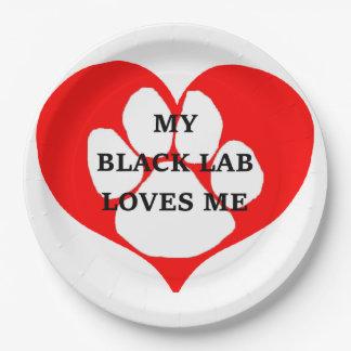meine schwarzen Labrador-Lieben ich Pappteller