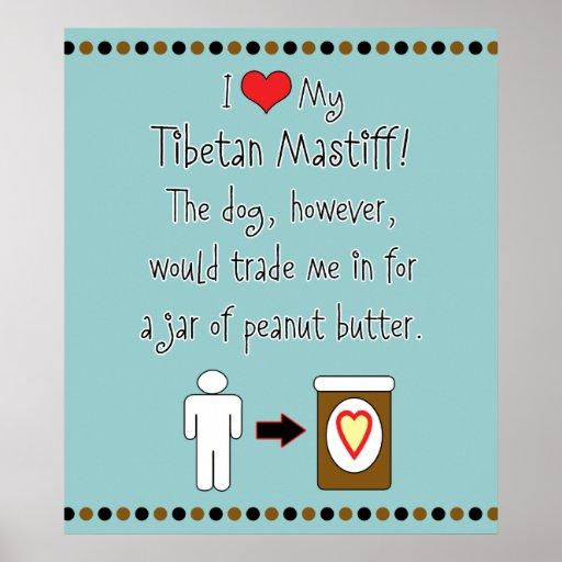 Meine tibetanischer Mastiff-Liebe-Erdnussbutter Plakatdrucke