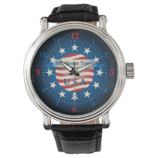 Meine Zuhause-Stadt-USA-Uhr Armbanduhr