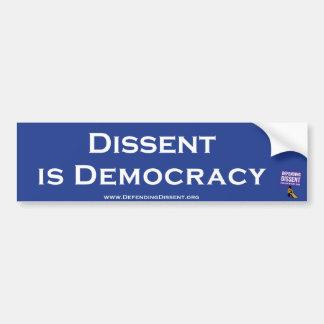 Meinungsverschiedenheit ist Demokratieblau Autoaufkleber