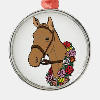 Meister-Pferd Rundes Silberfarbenes Ornament