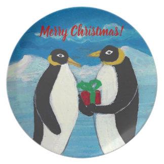 Melamin-Platte des Pinguin-Weihnachtenb Teller