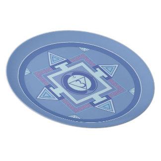 Melamin Teller-Mandala Shakra Blau Flache Teller