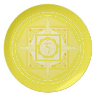 Melamin Teller-Mandala Shakra Gelb Flacher Teller