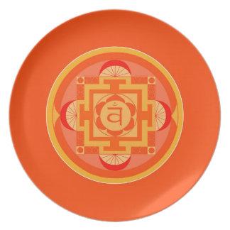 Melamin Teller-Mandala Shakra Orange Flache Teller