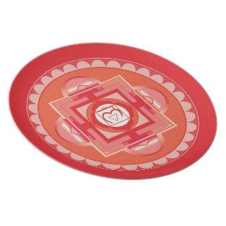 Melamin Teller-Mandala Shakra Rosa Teller