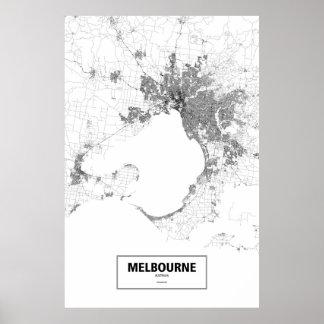 Melbourne, Australien (Schwarzes auf Weiß) Poster