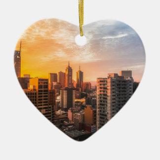 Melbourne-Skyline-Sonnenaufgang Keramik Herz-Ornament