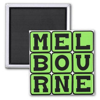 Melbourne, Stadt in Australien Quadratischer Magnet