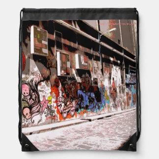 Melbourne-Straßen-Kunstdrawstring-Rucksack Turnbeutel