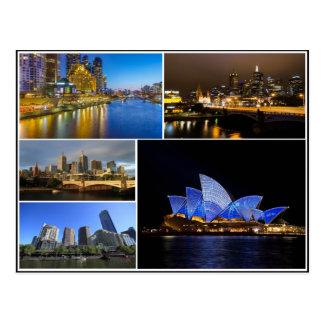 Melbourne Sydney Australien yarra Flusscollage Postkarte