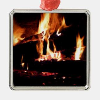Meldet die Kamin-warme Feuer-Fotografie an Silbernes Ornament