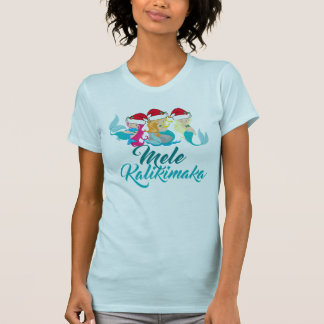 Mele Kalikimaka Meerjungfrau-Weihnachtsniedlicher T-Shirt