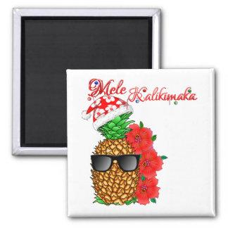 Mele Kalikimaka Weihnachtsananas Quadratischer Magnet