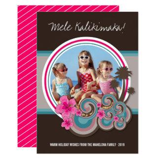 Mele Kalimaka Hibiskus-Palme-Weihnachtskarte Karte