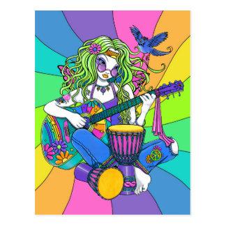 """Melodien-"" Regenbogen-Gitarrehippie-Fee-Postkarte Postkarte"