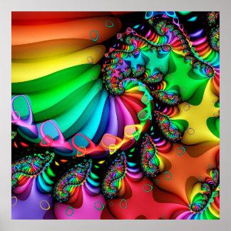 Melodische Regenbogen-Fraktal-Spirale Poster