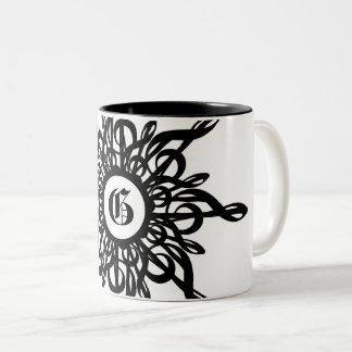MELTPOINT dekorativer Monogramm-Schwarzesc$g-clef Zweifarbige Tasse