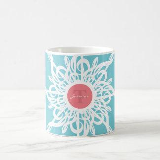 MELTPOINT dreifacher Clef-Blumen-Monogramm Kaffeetasse