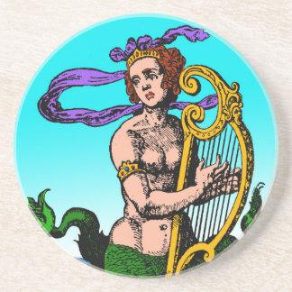 Melusine Meerjungfrau, die eine Harfe spielt Sandstein Untersetzer