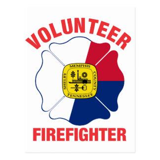 Memphis, TN-Flaggen-Freiwillig-Feuerwehrmann-Kreuz Postkarte