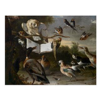 Menge der musikalischen Vögel, die Karte malen Postkarte
