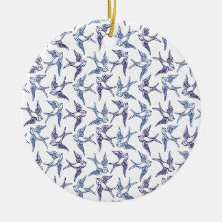 Menge der skizzierten Vögel Keramik Ornament