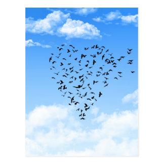 Menge des Vogel-Liebe-Herzens Postkarte