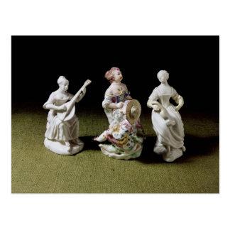 Mennecy Porzellangruppe eines Sängers Postkarte
