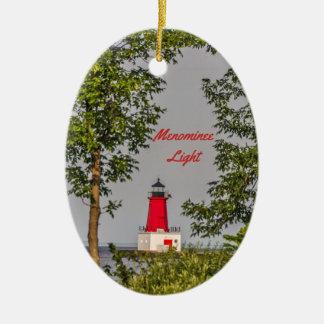 Menomine Leuchtturm auf Michigansee Keramik Ornament