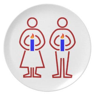 Menschen Kerzen humans candles Teller