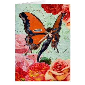 Menschlich-Tier hybride Schmetterlings-Frau mit Karte
