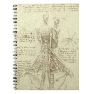 Menschliche Anatomie-Wirbelsäule durch Leonardo da Spiral Notizblock