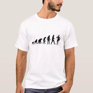 Menschliche Evolution: Akkordeon-Spieler-T - Shirt