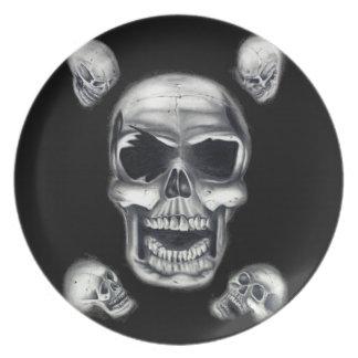 Menschliche Schädel-schwarze Platte Flache Teller
