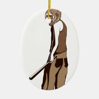 menschlicher Affe mit Stock Keramik Ornament
