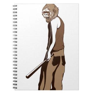 menschlicher Affe mit Stock Notizblock