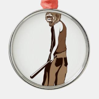 menschlicher Affe mit Stock Silbernes Ornament