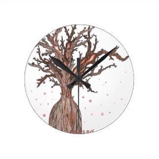 Menschlicher Kirschblüte-Baum Runde Wanduhr