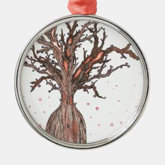 Menschlicher Kirschblüte-Baum Silbernes Ornament