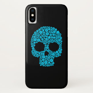 Menschlicher Schädel mit Blumen-Elementen iPhone X Hülle