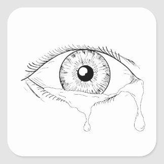Menschliches Augen-schreiendes Riss-flüssiges Quadratischer Aufkleber
