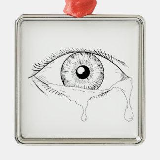 Menschliches Augen-schreiendes Riss-flüssiges Silbernes Ornament