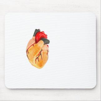 Menschliches Herzmodell auf weißem Hintergrund Mauspads