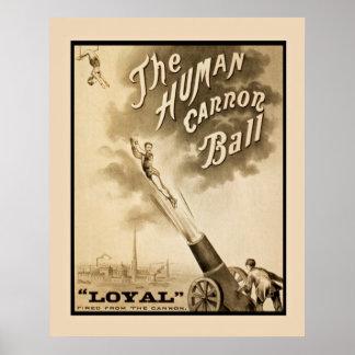 Menschliches Kanonen-Ball-Vintages Plakat
