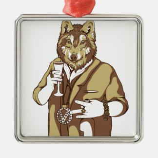 menschliches passendes Hundetrinken Silbernes Ornament