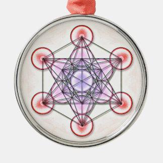 Mentatrons Würfel - Artwork I Rundes Silberfarbenes Ornament