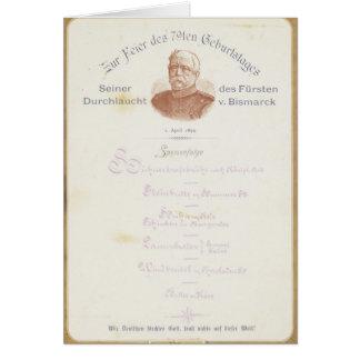 Menü an Prinzen von Bismarcks Karte