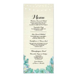 Menü-Hochzeits-Empfangrustikale Succulents-Minze 10,2 X 23,5 Cm Einladungskarte