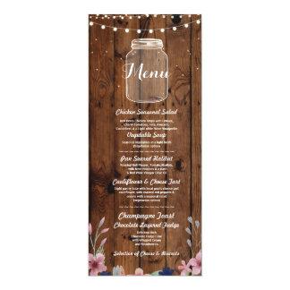 Menü-Hochzeits-Empfangs-rustikales Glas-hölzerne Karte